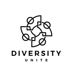 People family diversity outline logo icon vector