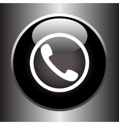 Phone handset icon on black glass button vector