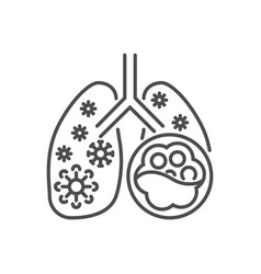 pneumonia related thin line icon vector image