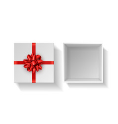 Present box with red bow top view vector