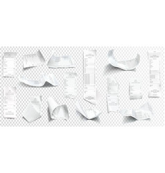 realistic receipt collection bill or check vector image