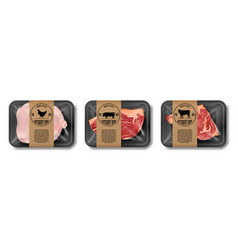 relistic meat packaging beef pork and chicken vector image