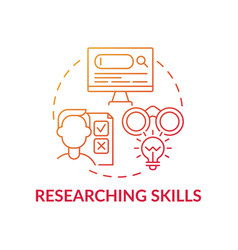 Researching skills red gradient concept icon vector