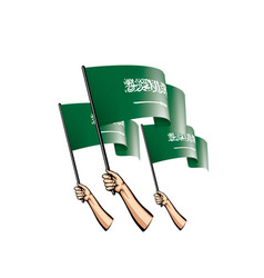 Saudi arabia flag and hand on white background vector