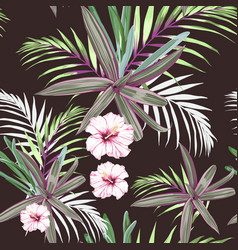 seamless pattern with exotic tropical plants vector image