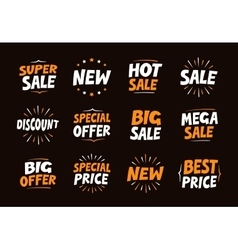 set colorful labels for sale shopping and vector image