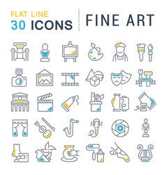 Set line icons fine art vector