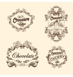 Set of chocolate labels design elements vector