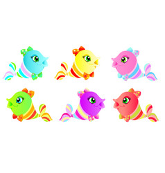 set of cute colorful fish vector image