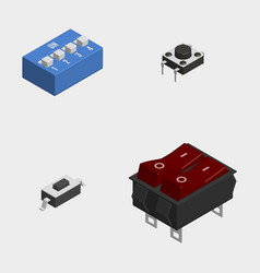 Set of different electrical buttons and switches vector