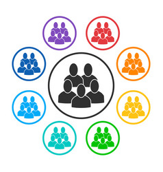 Set of group round icons with 5 peoples vector