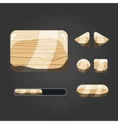 Set of wooden different buttons vector image