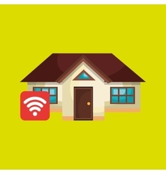 smart home with wifi signal isolated icon design vector image