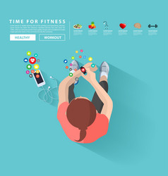 smart watch and smart phone fitness woman with vector image