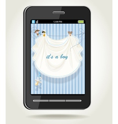 Smartphone with baby boy blue openwork vector image
