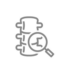 Spine with magnifying glass line icon backbone vector