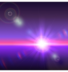 sun over horizon with lens flares vector image