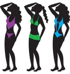 swim suit silhouettes vector image