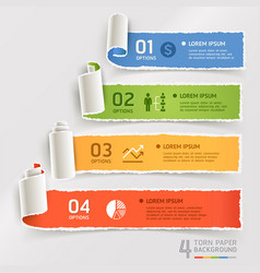 torn paper infographics template vector image