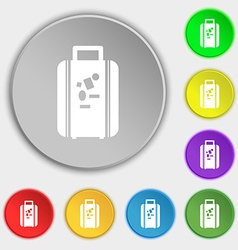 Travel luggage suitcase icon sign Symbol on eight vector