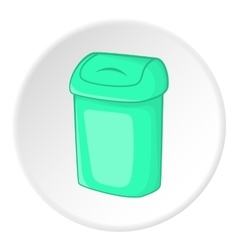Turquoise trash can icon cartoon style vector