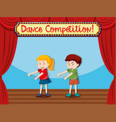 Two children on stage dancing vector