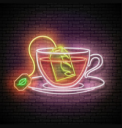 vintage glow signboard with brewed tea bag in cup vector image
