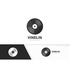 Vinyl logo combination record symbol or vector