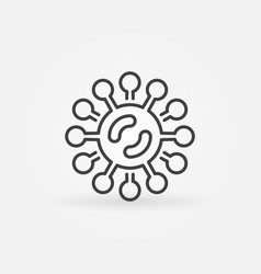 virus or bacteria icon in thin line style vector image