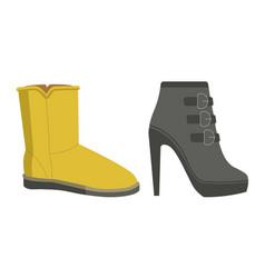 Warm winter footwear on heel and flat sole vector