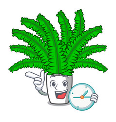 With clock beautiful cartoon ferns in green vector