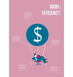 Work efficiency infographics template with man vector image