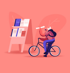 young man selling newspapers on street salesman vector image