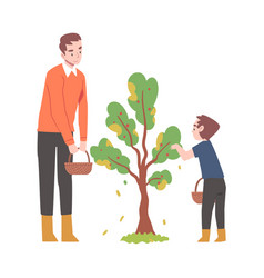 Young man with kid picking apples from fruit tree vector