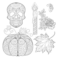 Zentangle stylized Skull candle rose oak acorn vector image