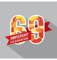 69th Years Anniversary Celebration Design vector image