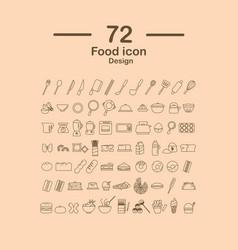 72 food line icon design vector image