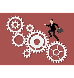Businessman running on mechanism system vector image