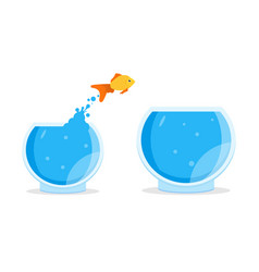 Goldfish jumping out of bowl aquarium vector