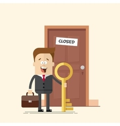 happy businessman with a key manager or standing vector image vector image