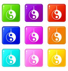 Yin yang symbol icons 9 set vector