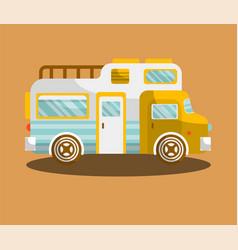 camping bus or camper van motorhome car or vehicle vector image