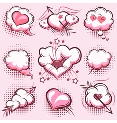 Comic elements for Valentines Day with explosions vector image vector image