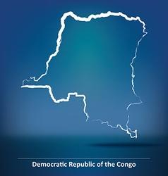Doodle Map of Democratic Republic of the Congo vector image