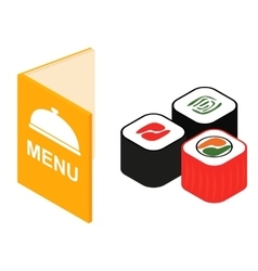 Menu and sushi isometric 3d icon vector image vector image