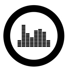 music equalizer black icon in circle vector image vector image