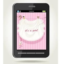 Smartphone with baby girl pink openwork vector image
