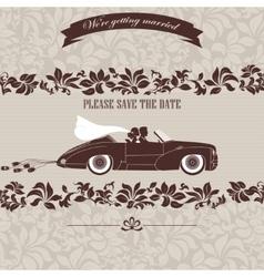 Wedding invitation the bride and groom in car vector image