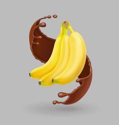 banana in chocolate splash realistic fruit vector image