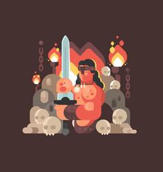 courageous warrior barbarian sword vector image vector image